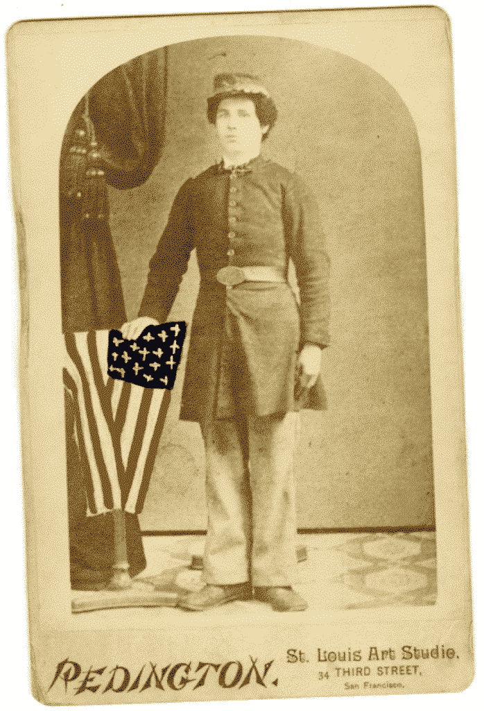 An old studio portrait of a young man wearing a Civil War uniform.