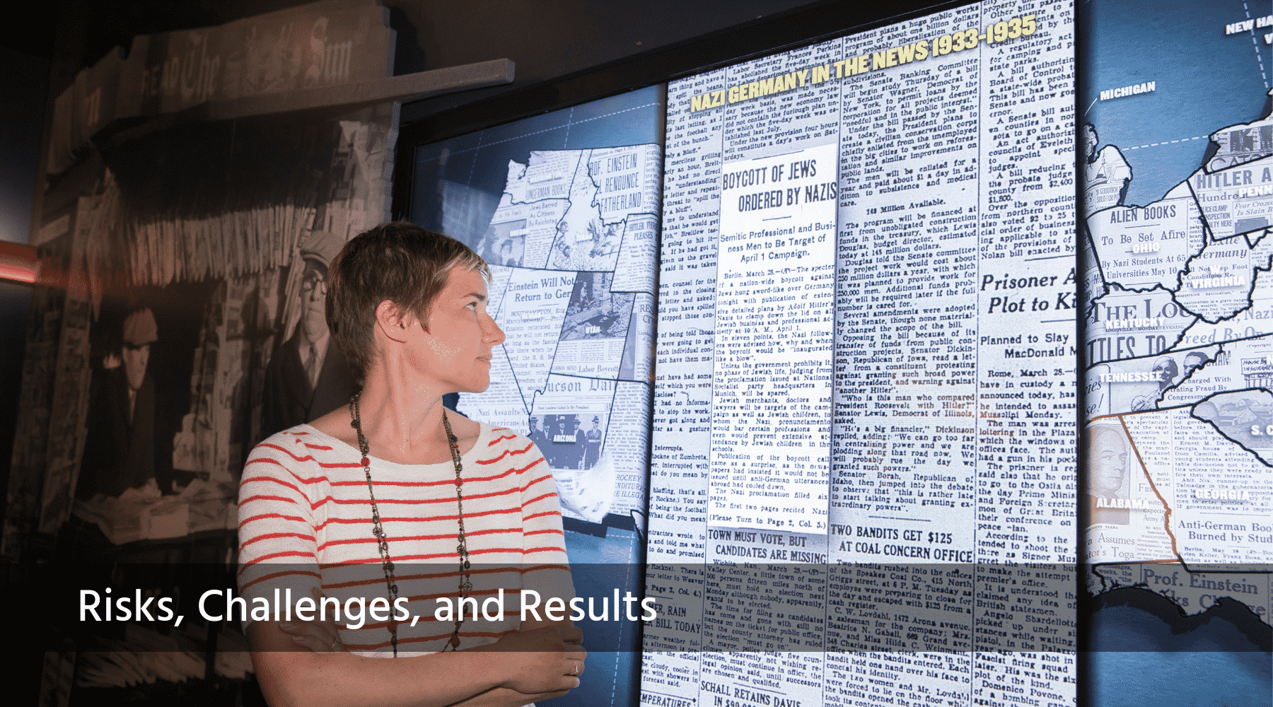 A woman observes a digital exhibition panel displaying a newspaper article from the World War II era.