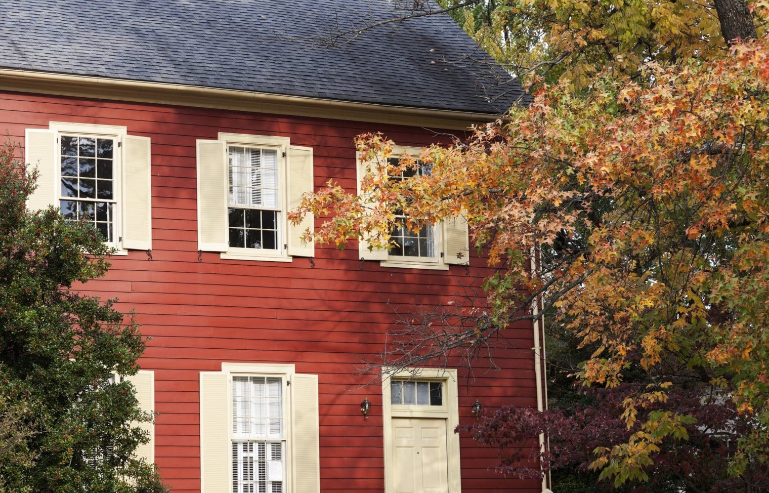 A close up of a red house. The house has white shutters and a dark gray roof. There is a tree change yellow leaves in front of the house.