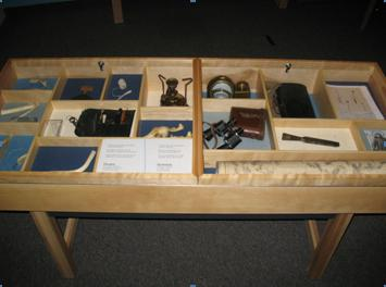 This table was specifically designed to house hands-on objects for a volunteer led activity in one of our exhibitions. When no volunteers are present, the storage table doubles as a display case.