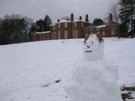 gore place snowman on grounds
