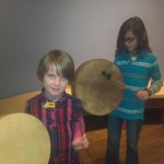Exploring drums at the Eiteljorg Museum of American Indians and Western Art.