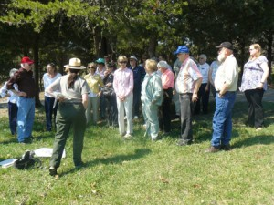 Belle Grove volunteers participate in a training with a Cedar Creek and Belle Grove National Historical Park ranger.