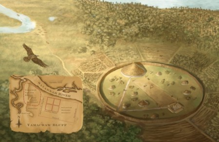 Reconstruction of the Yamacraw's Village. Courtesy of Charlie Swerdlow.