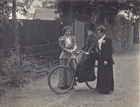 Francis Willard on her bicycle. Image Courtesy of the Frances Willard Historical Association
