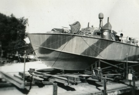 PT-305 in dry dock in New Orleans after her commissioning. Built by Higgins Industries in the spring of 1943, PT-305 was assigned to the Mediterranean in December 1943. Via National WWII Museum.