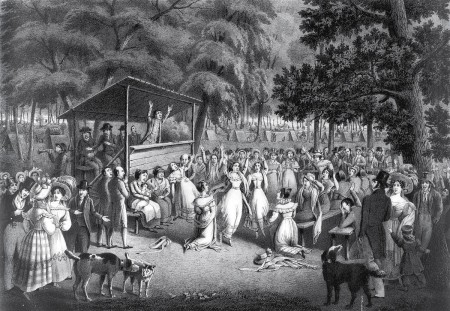 Lithograph of a ca. 1829 religious camp meeting (Alexander Rider)
