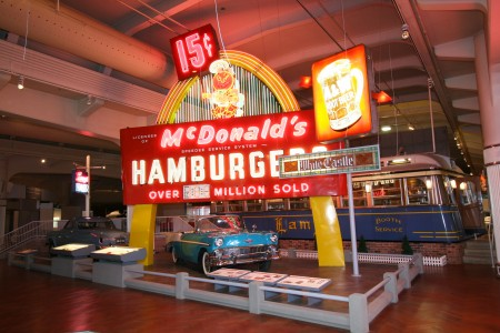 Roadside Food - Lamy's Diner & McDonalds sign - Driving America - The Henry Ford